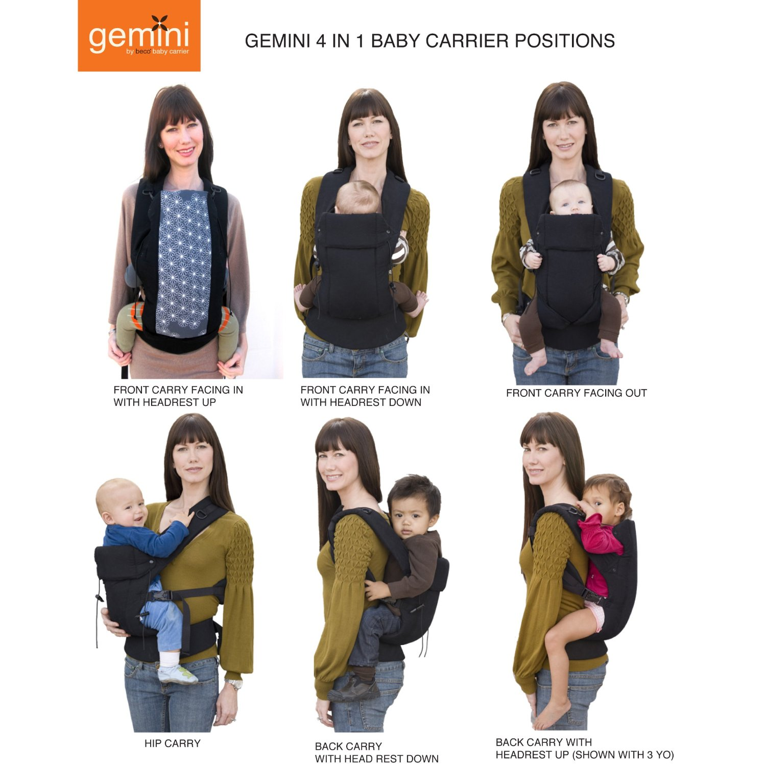 ergo carrier positions